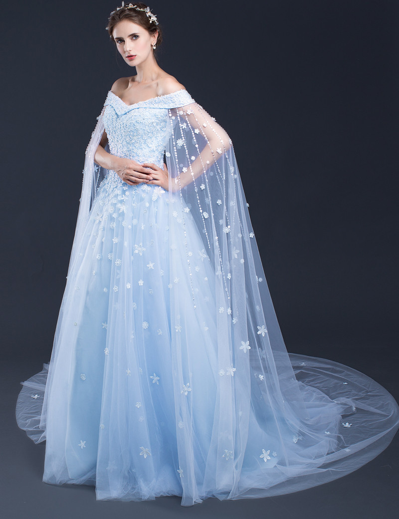 Blue wedding dresses long bridal gowns bridal gowns with for Blue long dress wedding